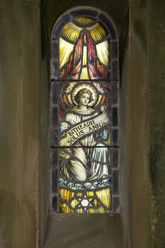 Interior. St. Bride's Chapel, detail of stained glass window in W wall