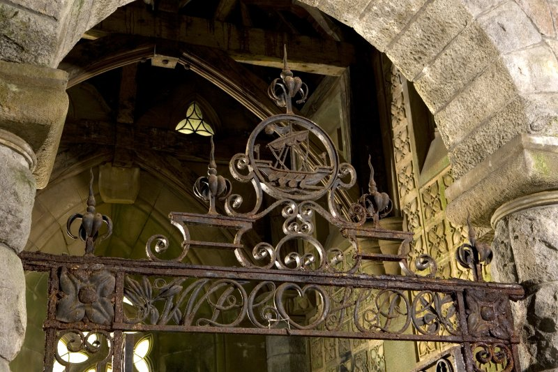Interior. St. Conval's Chapel, detail of iron work above gate