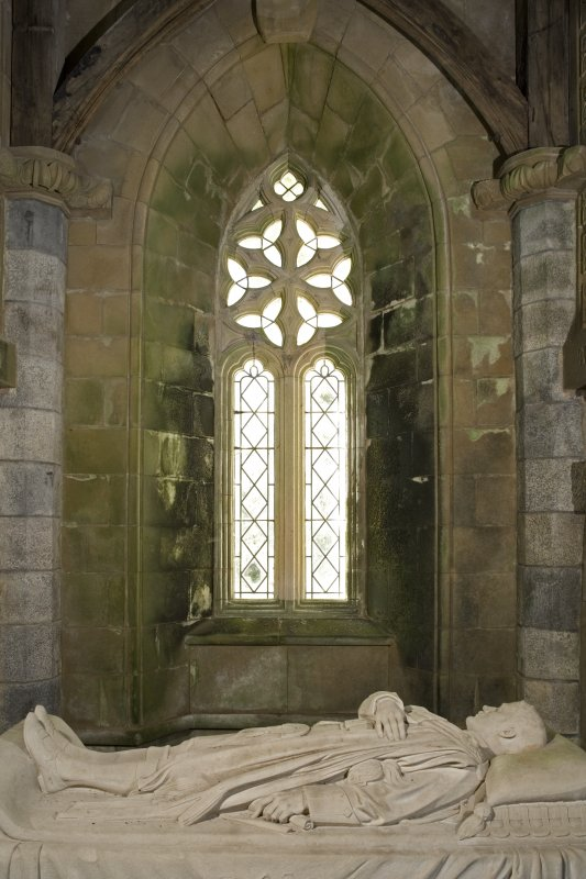 Interior. St. Conval's Chapel, tomb with window behind, view from E