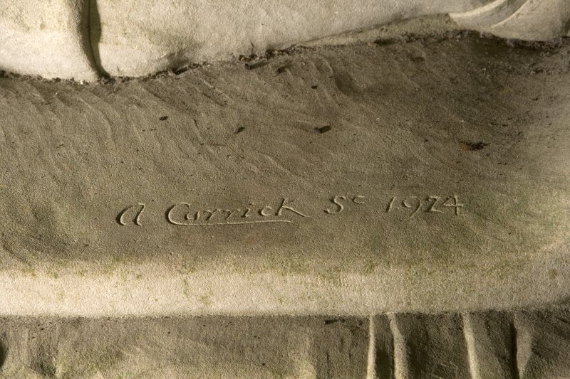 Interior. St. Conval's Chapel, detail of sculptor's signature (A. Carrick Sc. 1924)