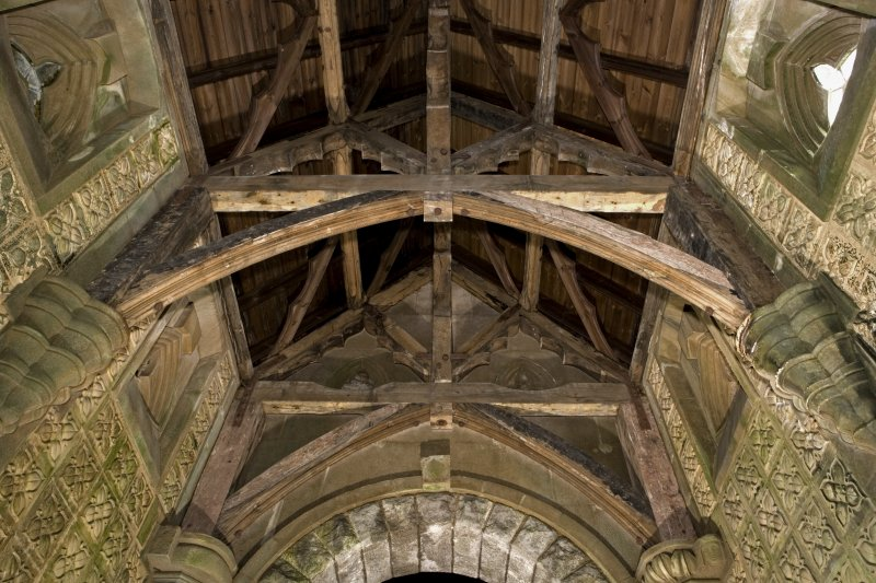 Interior. St. Conval's Chapel, view of roof
