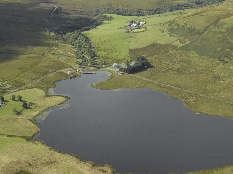 General oblique aerial view centred on the Compensation Reservoir, taken from the NE.