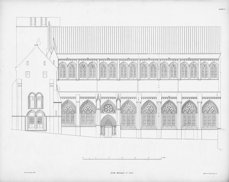 Digital copy of Plate IV, south elevation of nave.