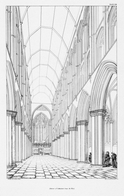 Digital copy of Plate XVIII,, interior of Glasgow Cathedral from the west.