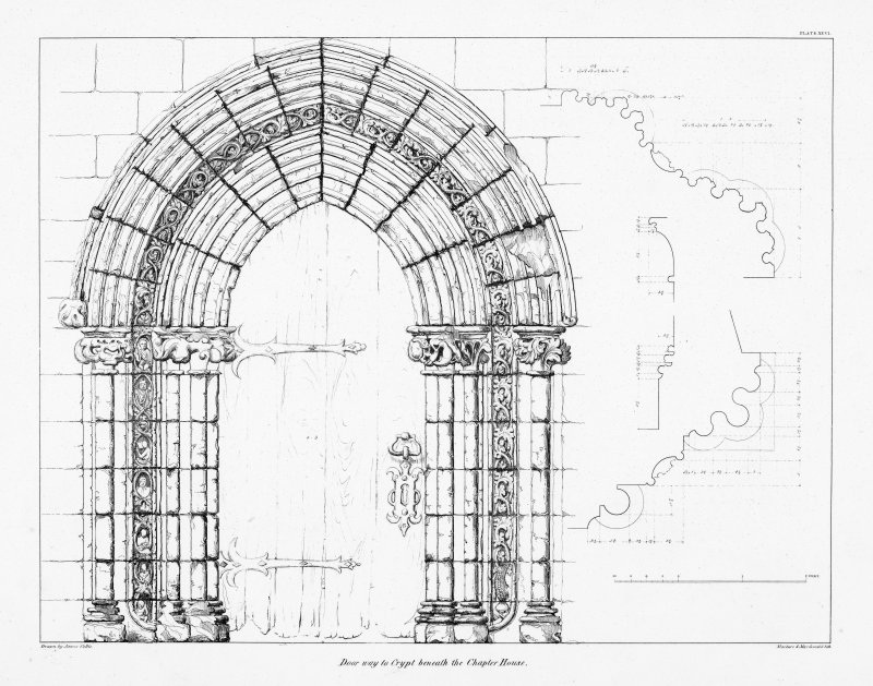 Digital copy of Plate XXVI, door way to Crypt beneath the Chapter House.