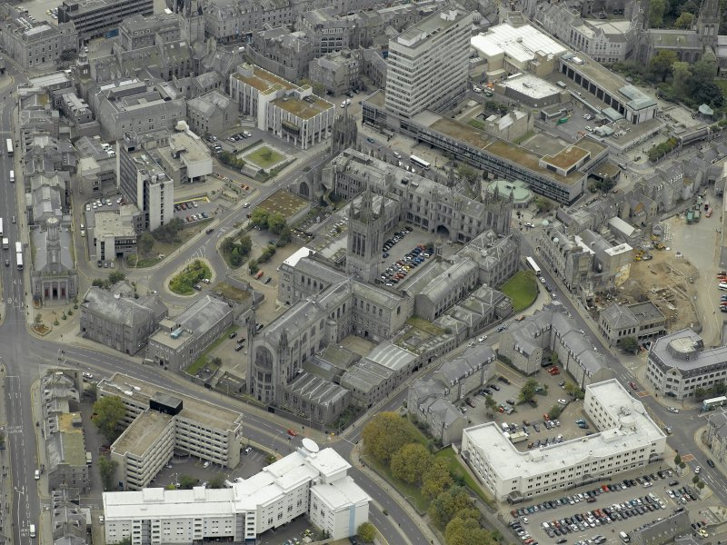 Oblique aerial view of the city centre centred on Marischal College, taken from the N.