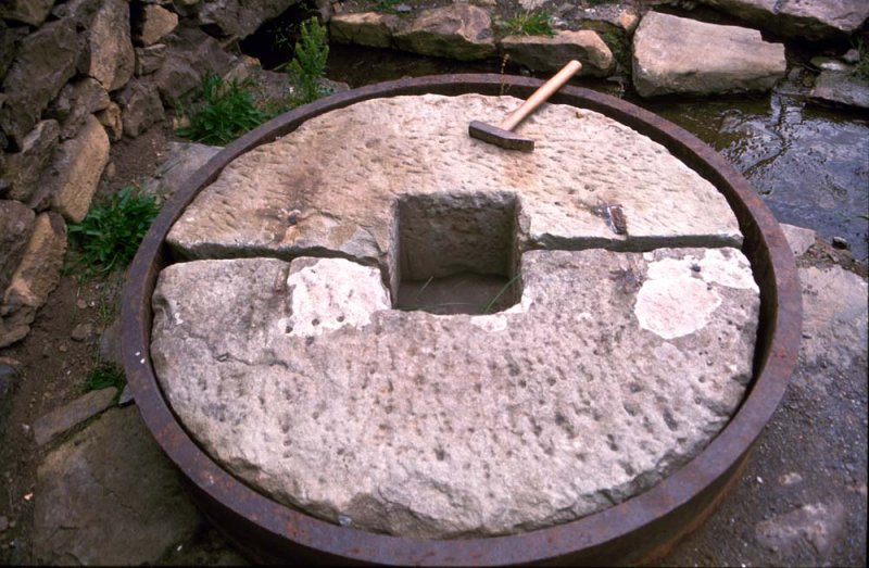 View of remains of mill wheel.