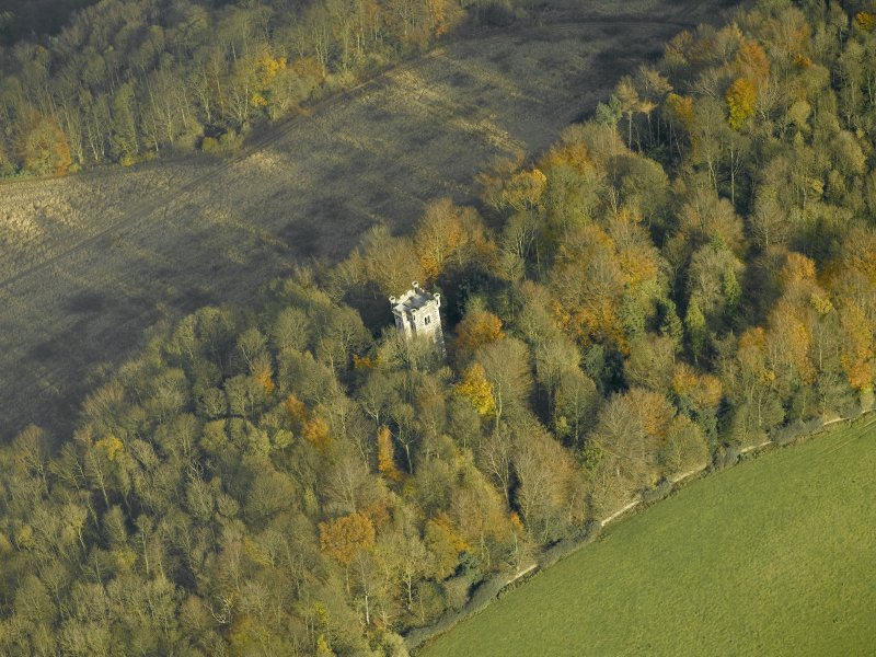 Oblique aerial view centred on the tower, taken from the SW.