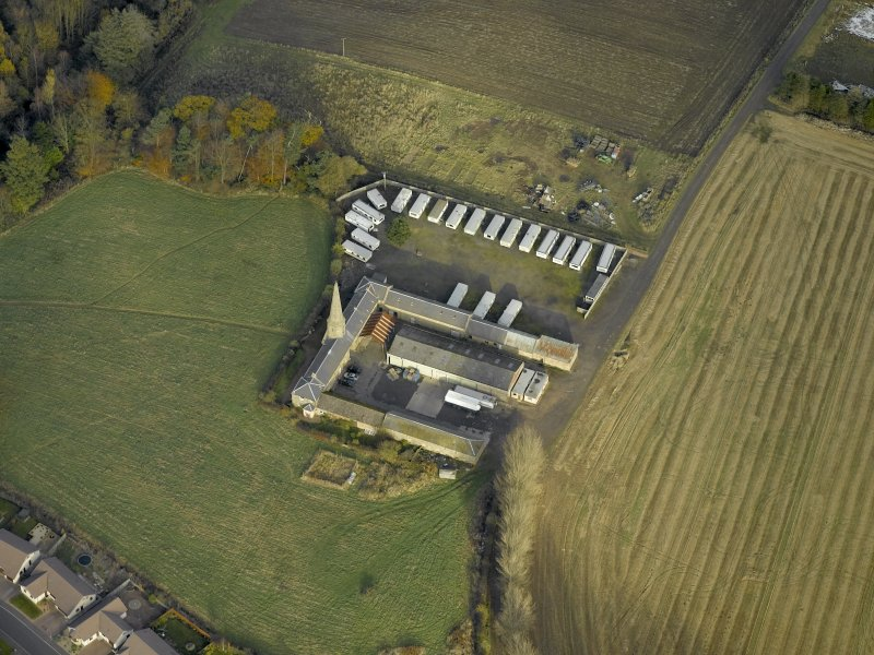 Oblique aerial view centred on the steading, taken from the SW.