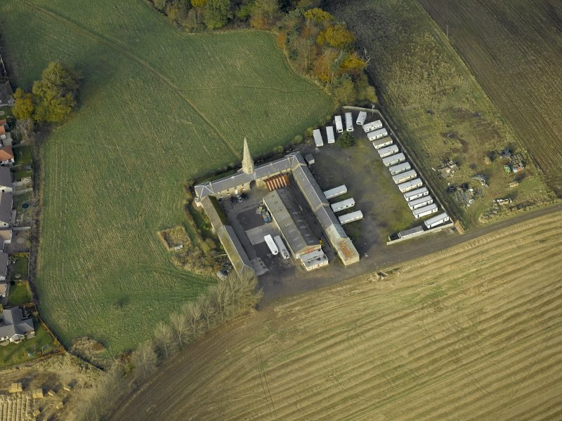 Oblique aerial view centred on the steading, taken from the SE.