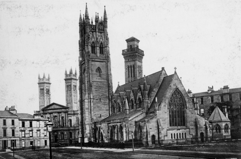 Page 26v/3 View of Park Church and Free Church College, Glasgow.  Titled: 'Park Church & Free College Church. J.T. Rochead arch (1858) Charles Wilson arch (1856-61).'