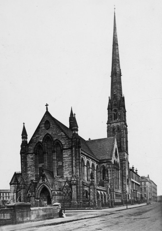 View of Landsdowne United Presbyterian Church, Glasgow. Titled: 'Lansdowne U.P. Church (1862) John Honeyman, Archt.'