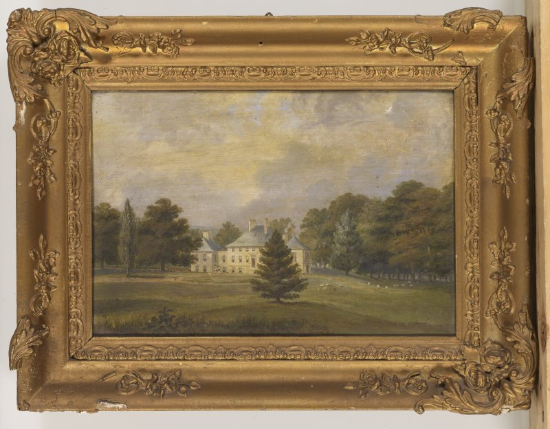 Watercolour painting showing general view of Polton House from NE.
