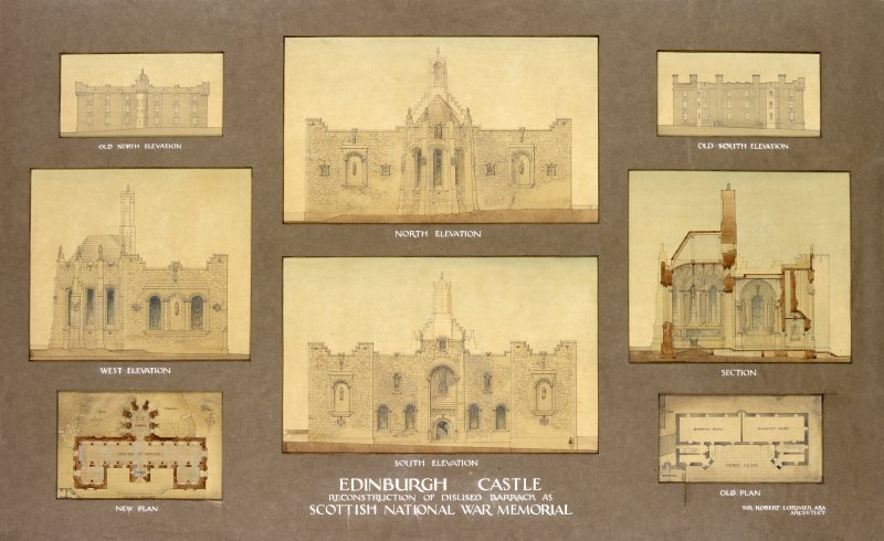 "North elevation. Captioned ""Edinburgh Castle reconstruction of disused barracks as Scottish National War Memorial"""