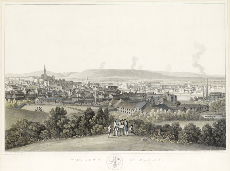 The Town of Paisley. Aquatint. 1825. Drawn by J, Clark. Pub. by Smith & Elder