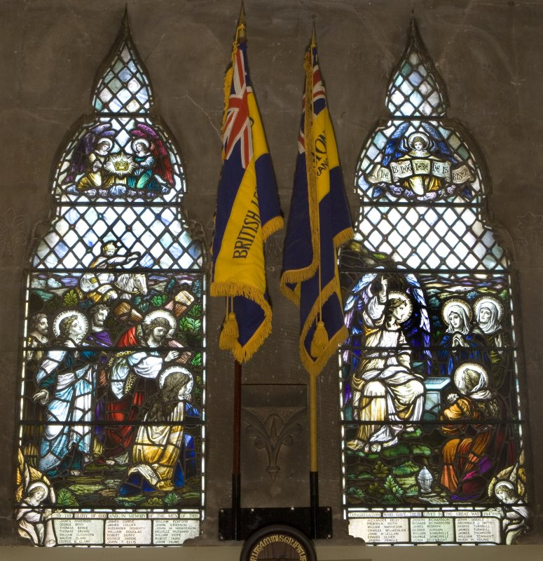 Interior. Detail of war memorial stained glass in lobby