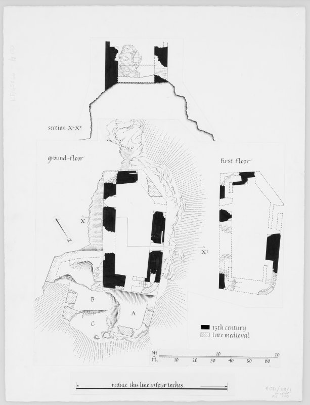Lismore, Castle Coeffin. Plans showing dated sections of first floor, ground floor and section X-X'.
