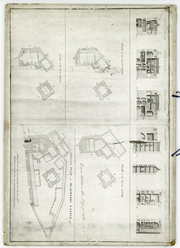 Ground plan, plans of second, third and fourth floors and sections.