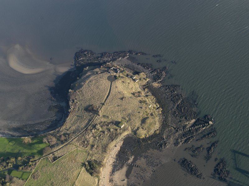 Oblique aerial view centred on the gun battery, taken from the W.