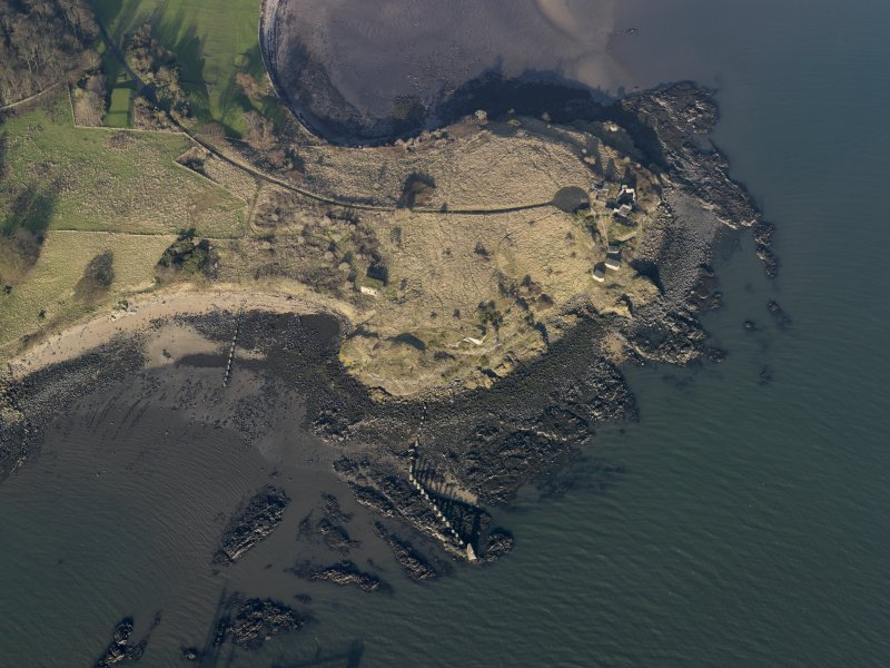 Oblique aerial view centred on the gun battery, taken from the S.