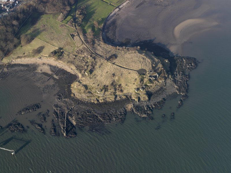 Oblique aerial view centred on the gun battery, taken from the SSE.