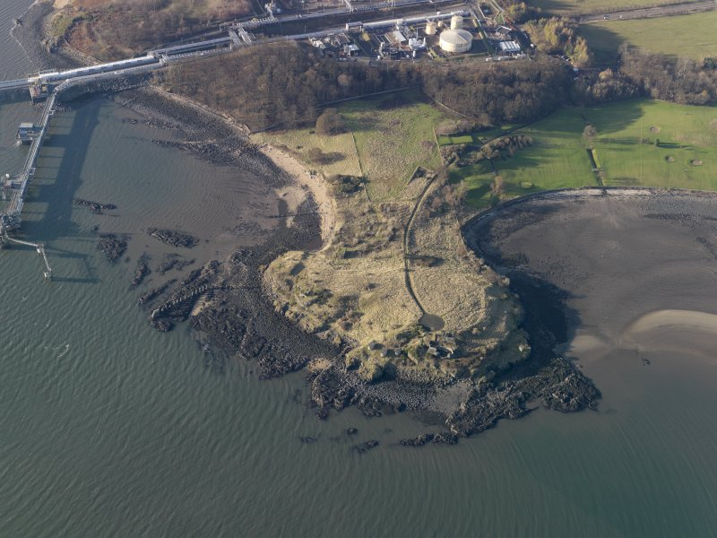Oblique aerial view centred on the gun battery, taken from the E.