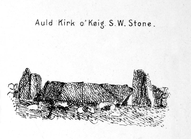 'Auld Kirk o' Keig SW Stone'; from Maclagan, C 1875 The Hill Forts and Stone Circles of Scotland pl. xxvii