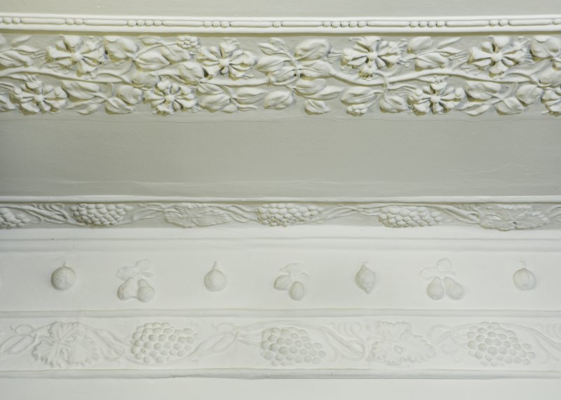 Interior. Ground floor. Dining space. Detail of cornice.