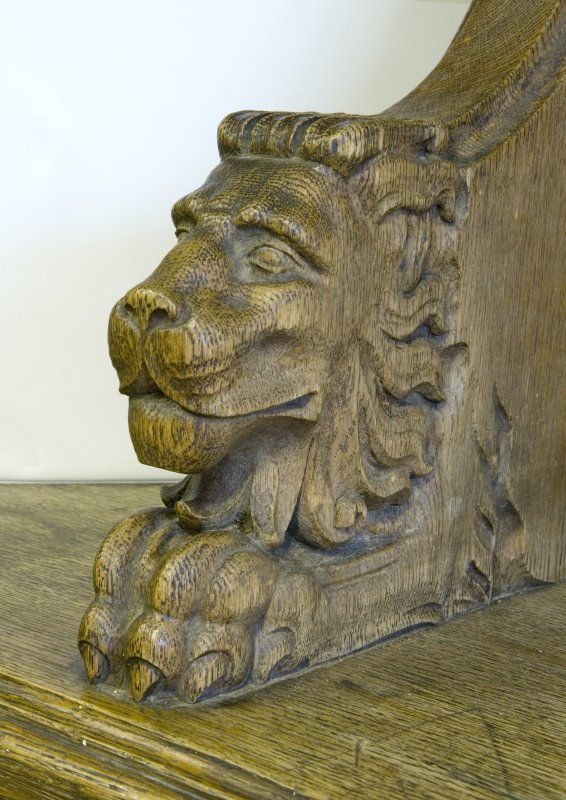 Interior. Ground floor. South west room. Detail of carved animal (lion) head.