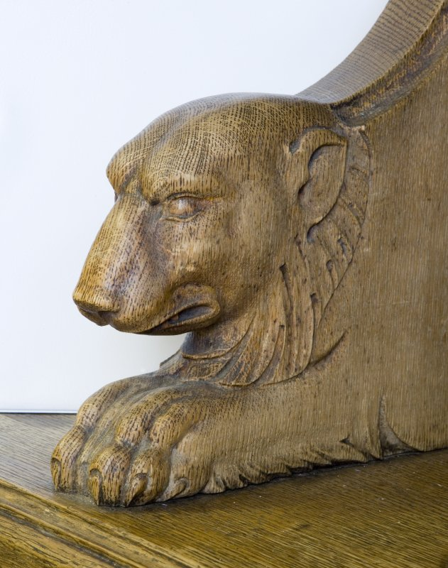 Interior. Ground floor. South west room. Detail of carved animal (dog) head. Lowther Terrace, Glasgow.