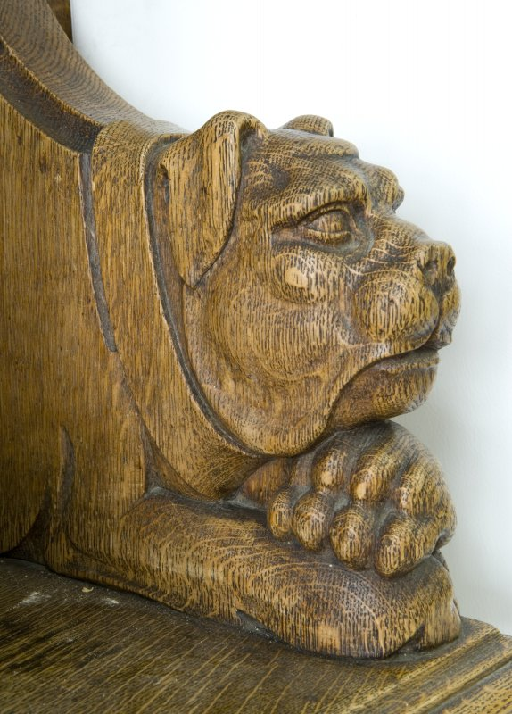 Interior. Ground floor. South west room. Detail of carved animal (bulldog) head. Lowther Terrace, Glasgow.