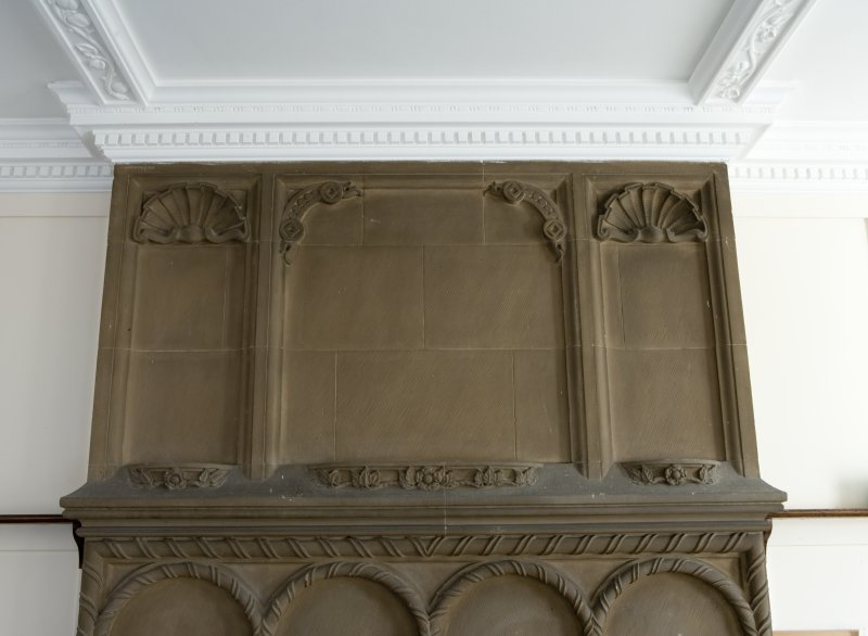 Interior. Ground floor. South east room. Detail of overmantle.