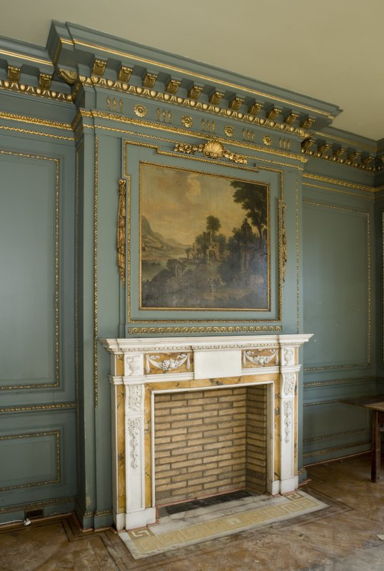 Interior. First floor. South room. Detail of fireplace.