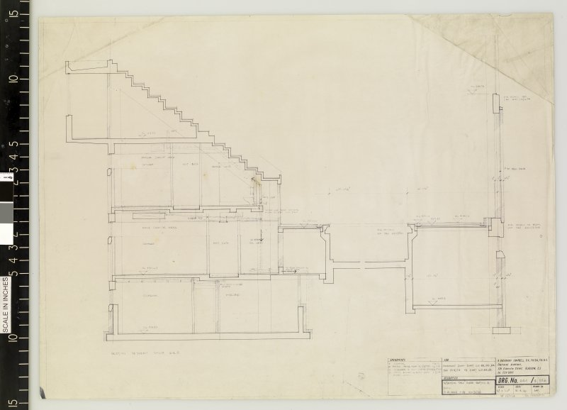 Section through tiered seating and pool.