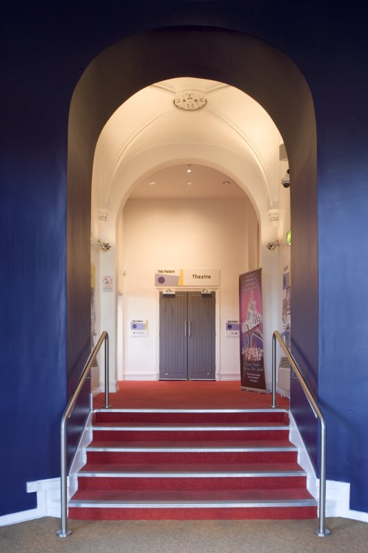 Interior view of stairs at Kilmarnock Corn Exchange.