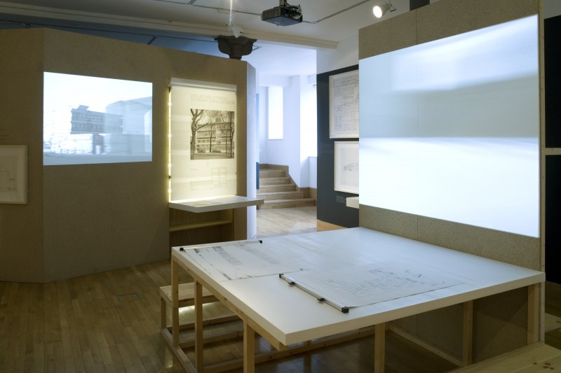 General view of 'Gillespie Kidd & Coia: Architecture 1956-87' exhibition, lower floor.