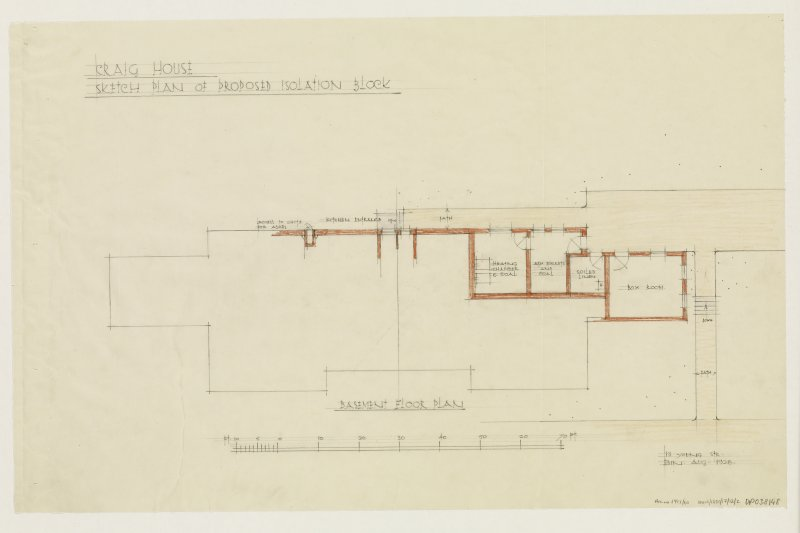 Sketch plan of proposed isolation block. Basement floor plan.