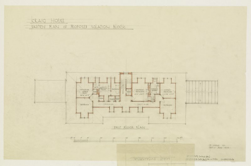 Sketch plan of proposed isolation block. First floor plan.