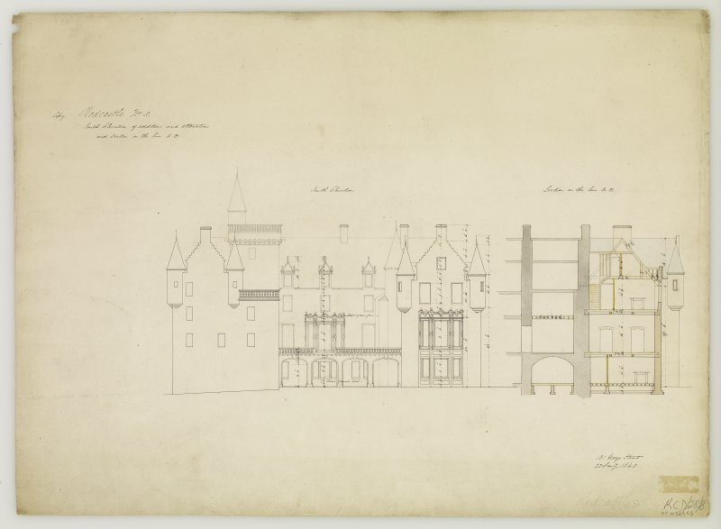 "South elevation and section. Signed ""131 George Street  22 Jan 1840"""