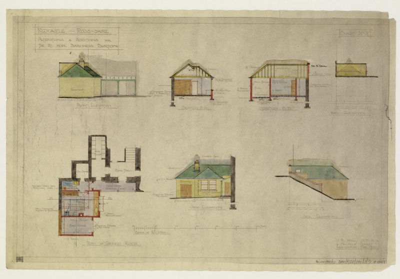 Additions and alterations for the Rt Hon Baroness Burton. Plan of ground floor, front elevation, side elevation and sections.