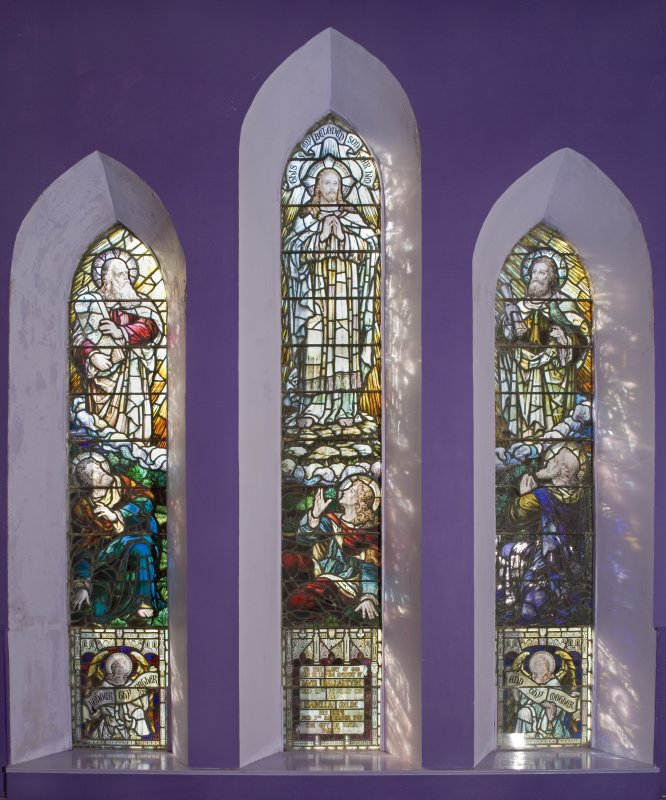 Interior. Upper hall.  David Ballantyne and Isabella Milne memorial stained glass window. Detail