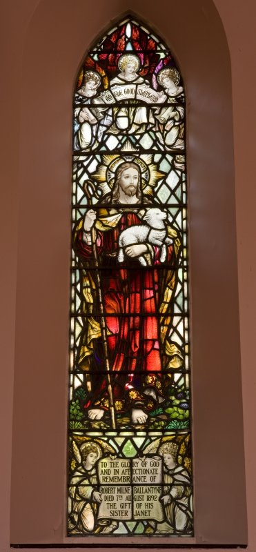 Interior. N side Good Shepherd stained glass window. Detail