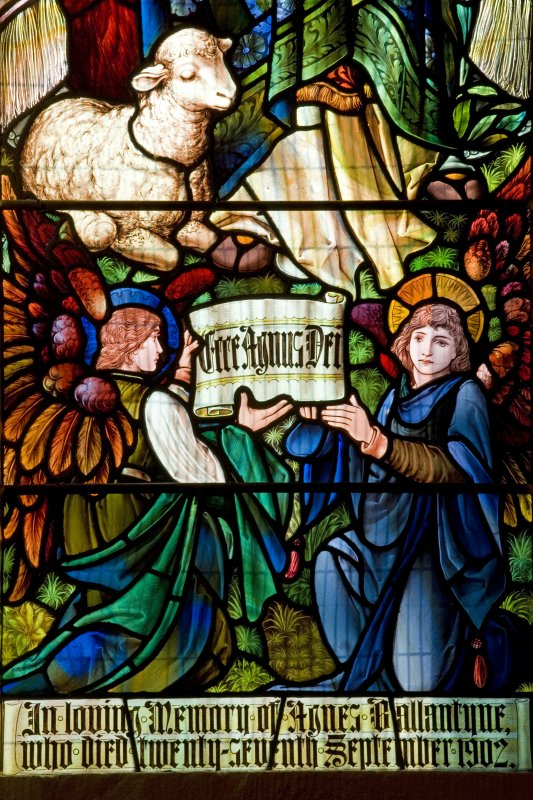 Interior. S side Agnes Ballantyne memorial stained glass window of St Agnes and the lamb by Percy Bacon & Bros 1905 Detail