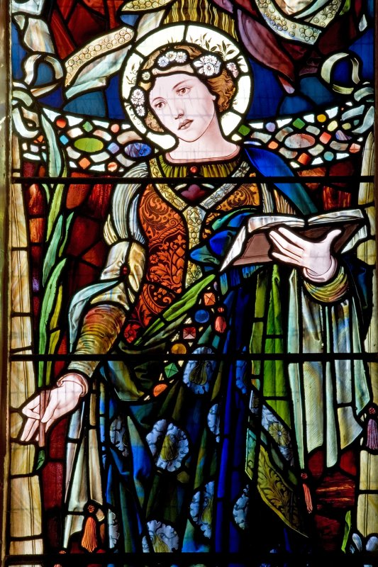 Interior. S side stained glass window. Detail