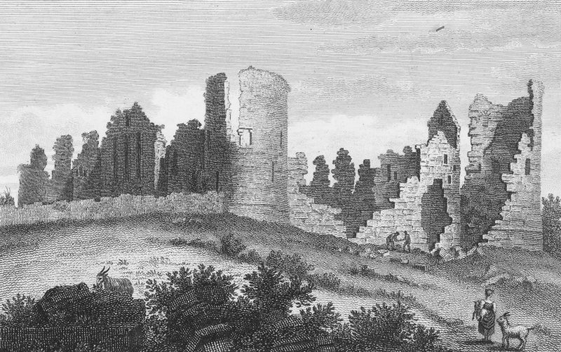 General view. Inscribed: 'Kildrummy Castle'; 'Alex. Cordiner delt'. Engraving copied from 'Travels in Scotland by an unusual route with a trip to the Orkneys and Hebrides', Rev. James Hall, 1807, vol. ...