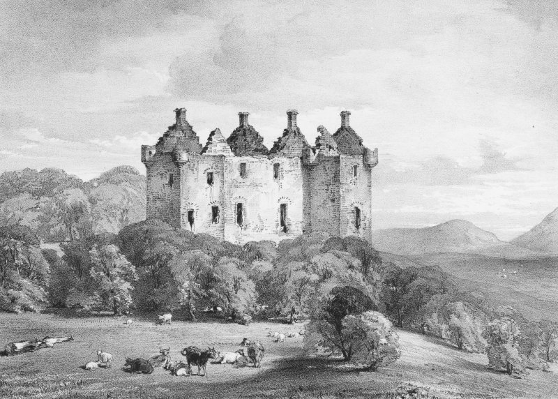 General view.  Inscribed: 'Glenbucket Castle'; 'ALH'; 'Maclure & Macdonald Lith Glasgow Livpl & London'.