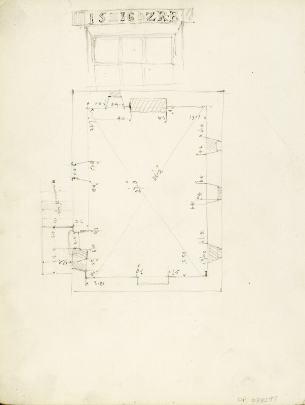 Measured sketch plan and lintel over window inscribed 'IS 16.2. RB.'