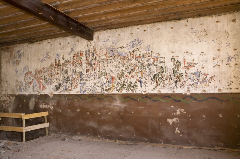 Interior.  View of 1st floor painted scene showing Kracov on wall undertaken by Polish Soldiers in World War II.