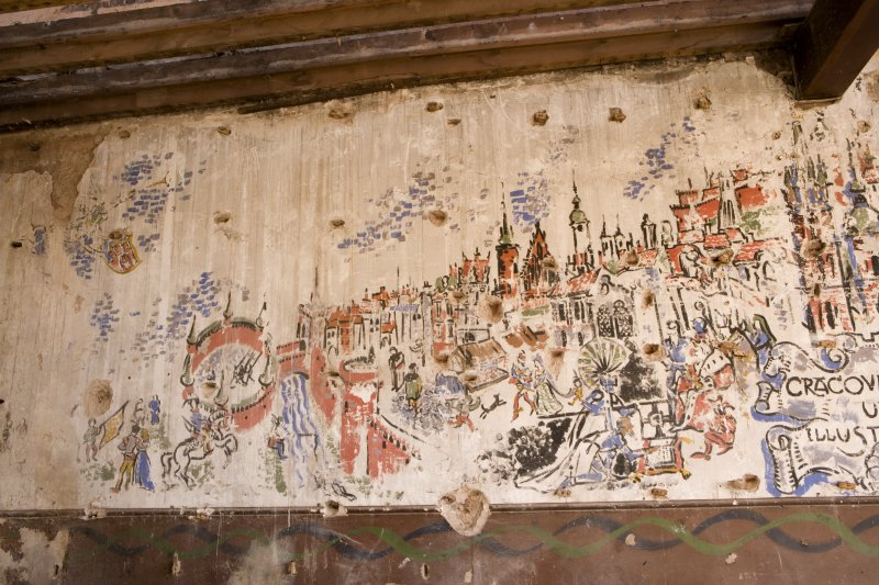 Interior.  View of 1st floor painted scene of Kracov on wall undertaken by Polish Soldiers in World War II.