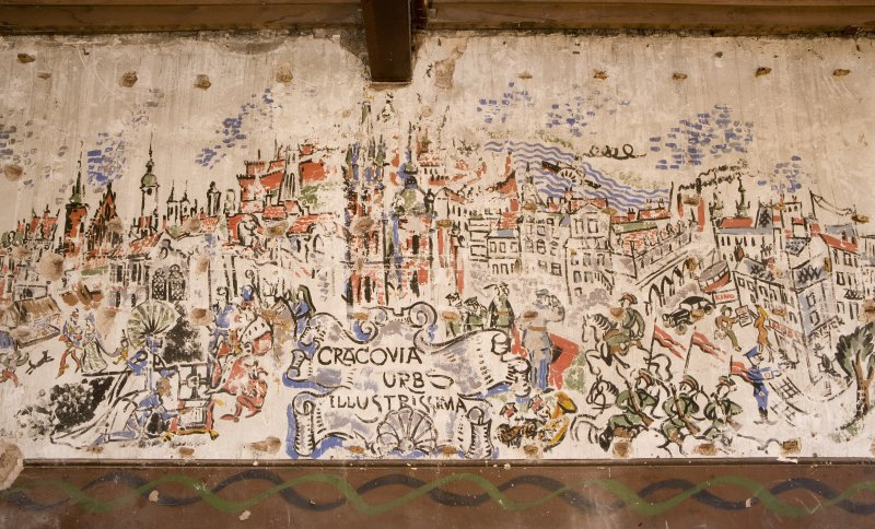 Interior. Detail of a section of the 1st floor painted scene on wall undertaken by Polish Soldiers in World War II.